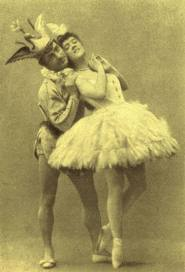 Cecchetti with Varvara Nikitina in the Bluebird Pas de Deux, original production The Sleeping Beauty,  St Petersburg,1890